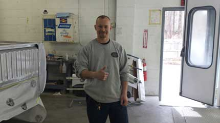 Andrew - painter/tow truck driver at Body Works Unlimited in East Longmeadow MA